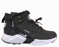"Кроссовки Nike Huarache X Acronym City MID Leather ""Black/White"" С МЕХОМ"